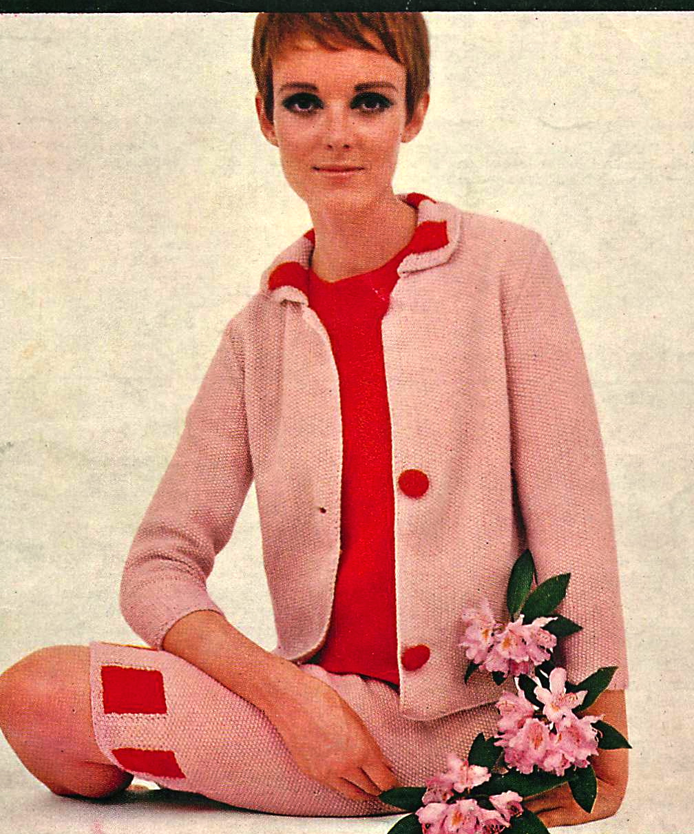 Vintage 1960s mod mini skirt suit knitting pattern modelled by Grace ...