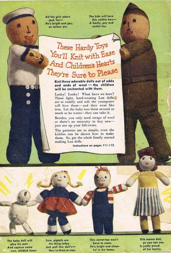 Vintage 1940s Wartime Lux Family Dolls Knitting Patterns