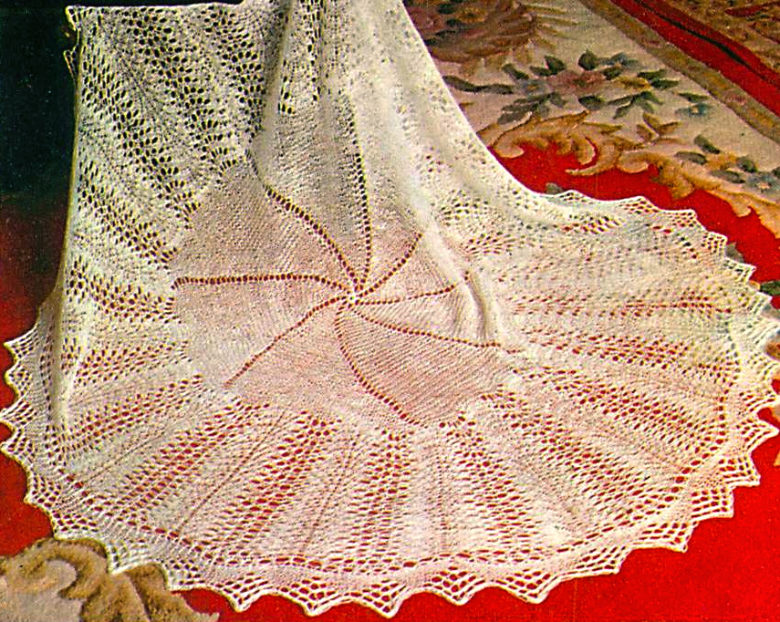 Heirloom lace baby christening shawl vintage knitting pattern pdf ...