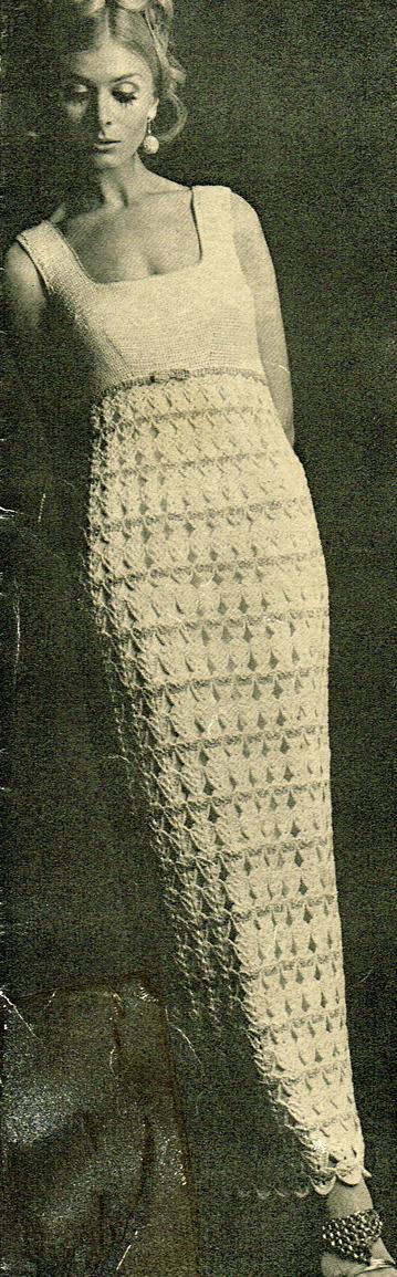 Crochet Wedding Dress Pattern.Vintage 1960s Mod Wedding Dress Crochet Pattern Vintage Patterns