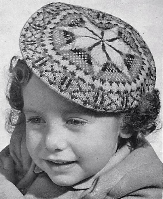 Vintage 1940s fair isle beret knitting pattern - Vintage ...