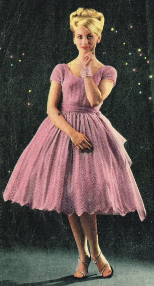 Vintage 1950s Pretty Lace Stitch Party Dress Knitting Pattern